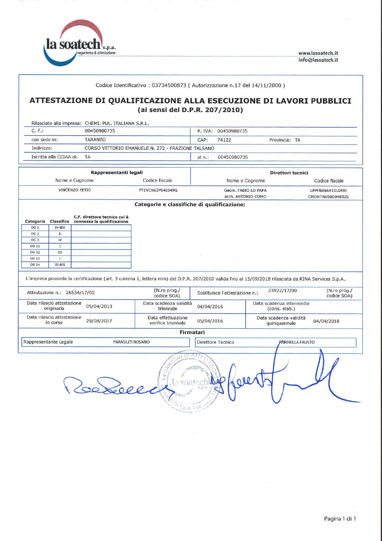 Certificazione SOA