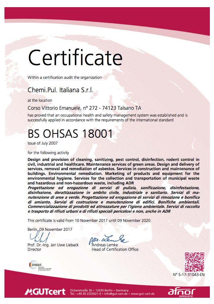 BS OHSAS 18001 - Chemipul Italiana srl